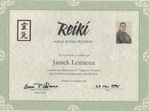 Janick Reiki 1 cert